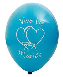 Ballons Vive les Mariés Coeur Turquoise
