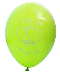 Ballons Vive les Mariés Coeur Vert Anis