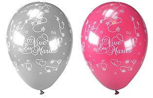 Ballons Vive les Mariés Gris Fuchsia