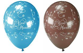 Ballons Vive les Mariés Turquoise Chocolat