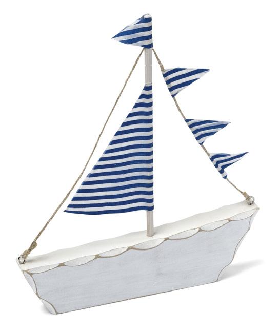Le bateau de d coration en bois blanc et bleu d coration for Deco bleu marine et blanc