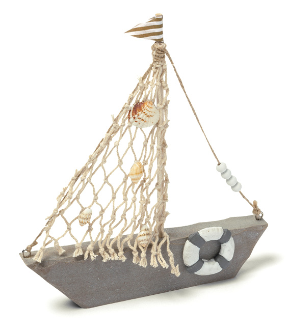 Le bateau de d coration taupe et beige avec filet d coration th me mer ma - Decoration de bateau ...
