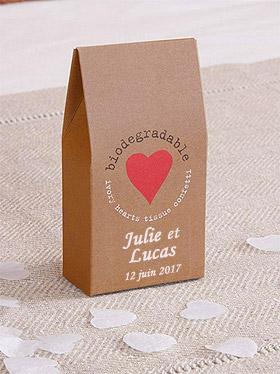Boite Kraft Confettis Coeur Ivoire Mariage Rouge Beige - Taupe