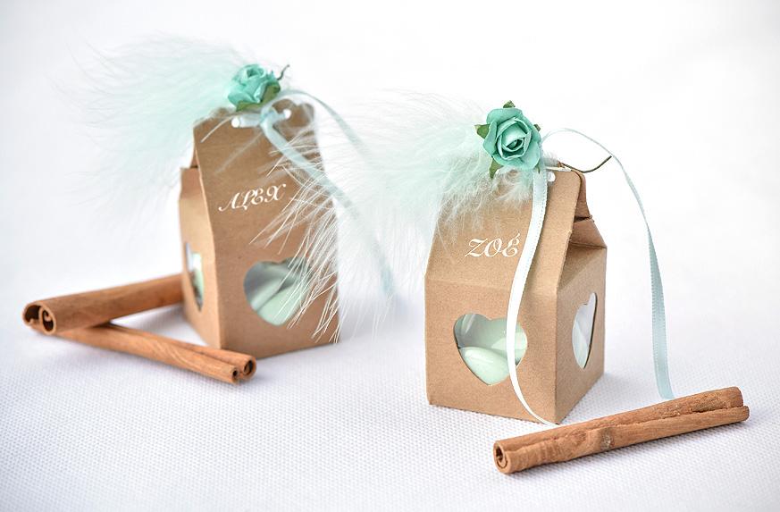 Boite Dragées Kraft Ruban Satin Jade