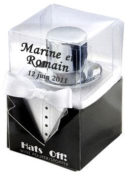 bouchon vin chapeau gentleman cadeau original mariage cadeaux invit s. Black Bedroom Furniture Sets. Home Design Ideas