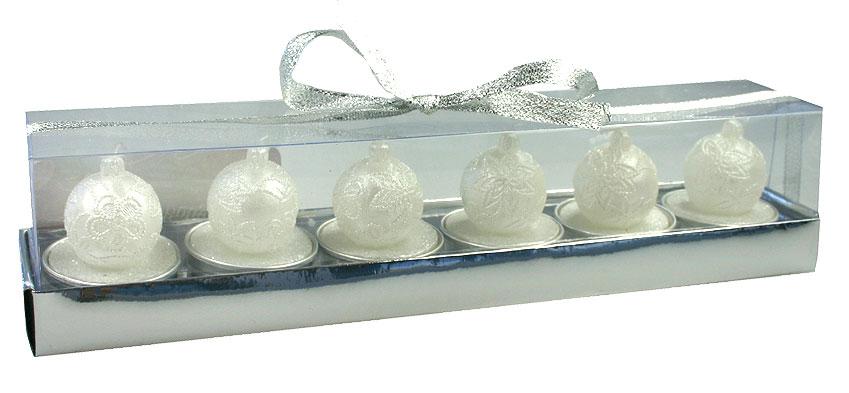 Lot de 6 bougies chauffe plat boules noel motifs fleurs for Plat convivial pas cher