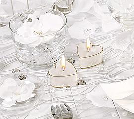 Décoration de table Bougies Chauffe Plat Coeur Mariage