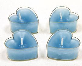 Bougies coeur turquoise
