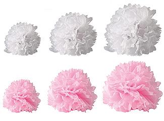 Boules Crépon Décoration blanc rose