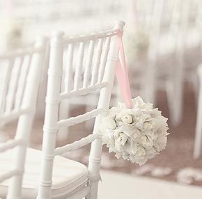 Decoration de chaise Boule Fleurs Artificielles Blanc