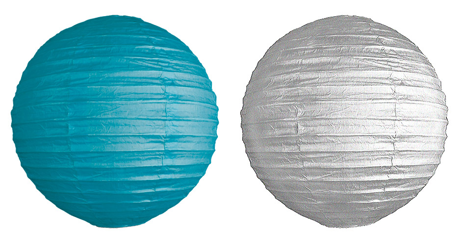 Boule lampion turquoise