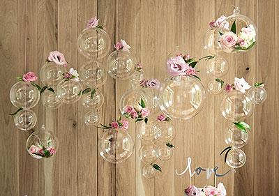 Boule ouverte en verre suspendue