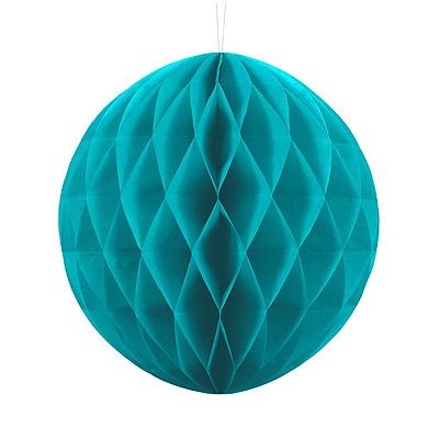 Boule Papier Alvéolé 30cm Turquoise