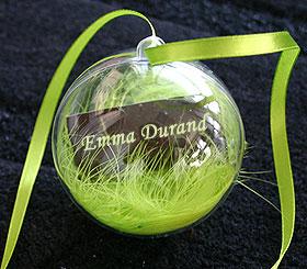 Porte Noms Boule Translucide Plumes Boa Vert Anis