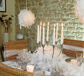 Boule Plumes Decoration Mariage 14cm Blanc