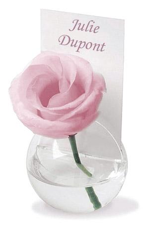 Petite boule en verre soliflore marque place 2 trous - Marque place coeur pied de verre ...