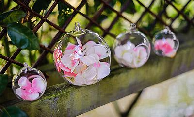 Boule en verre ouverte deco fleurs