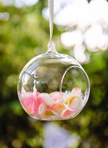 Boule verre suspension fleurs