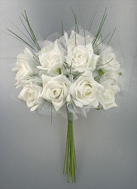 Bouquet Mariée Roses Artificielles Mariage Blanc