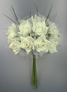 Bouquet Mariée Roses Artificielles Mariage Ivoire