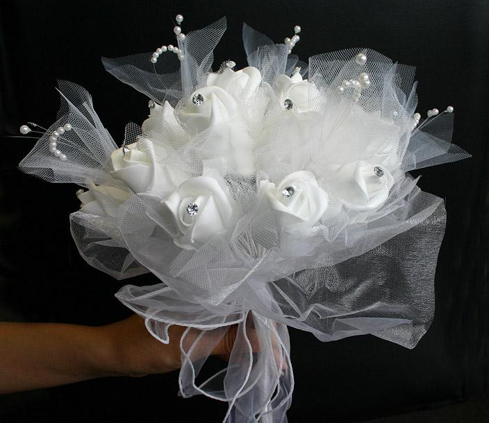 Le bouquet de la mari e roses perles strass et organza les accessoires du mariage mariage - Strass pour bouquet de mariee ...