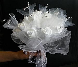 Bouquet Mariée Roses Organza
