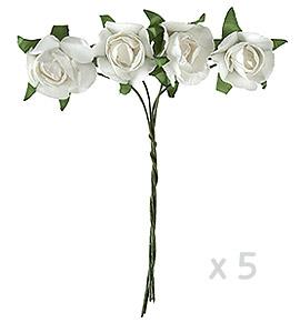 Mini roses papier blanc x 20