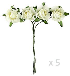 Mini roses papier ivoire x 20