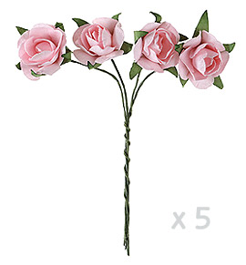 Mini roses papier rose x 20