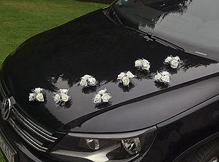 Bouquets Ventouse Voiture Mariage Blanc