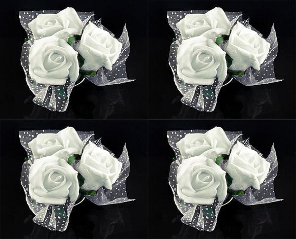 Le set de 4 mini bouquets ventouse pour voiture des mari s d coration voiture de mariage - Decoration voiture mariage ventouse ...
