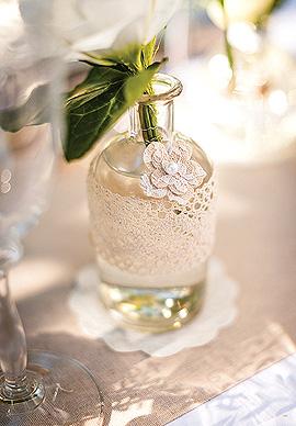 Vase Bouteille à la Mer Verre Mariage Beige - Taupe Transparent