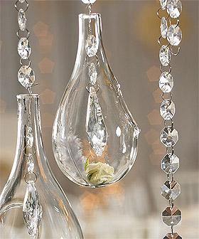 Goutte en Verre Ouverte Suspension avec guirlande diamant