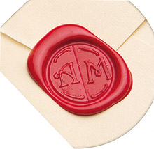 Cachet de cire initiales faire-part et enveloppes finition brute