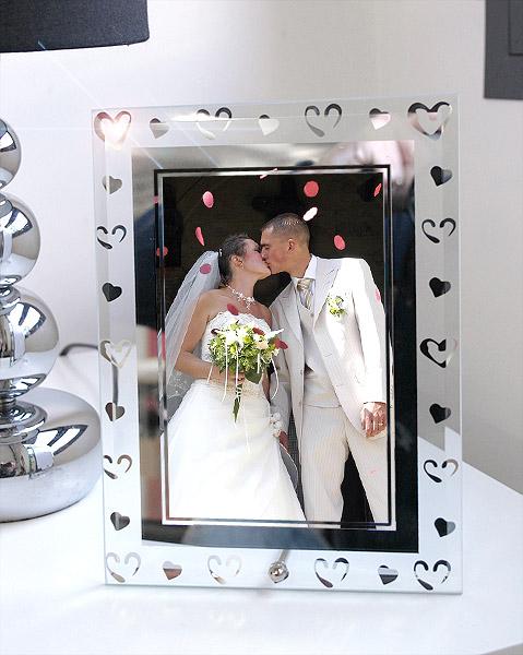 cadre photo coeurs argent s mariage cadeaux invit s. Black Bedroom Furniture Sets. Home Design Ideas