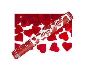 Canon Explosif Coeurs Rouge Métalliques 40cm Rouge