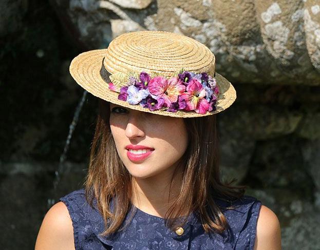 Canotier avec fleurs séchées