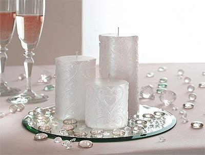 Centre de table bougies rond miroir