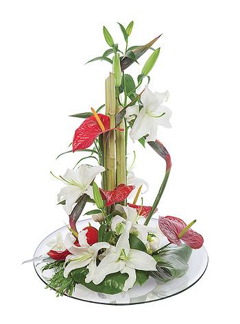 Centre de table fleurs rond miroir