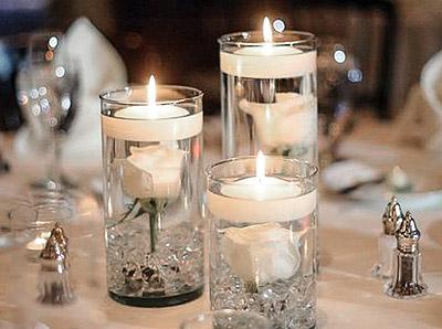 Centre de table vase bougie flottante