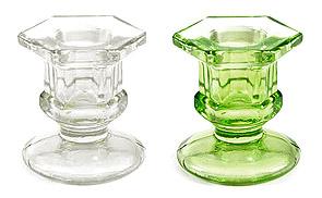Mini Bougeoir Verre Ciselé Transparent Mariage Vert Anis
