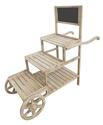 Chariot en Bois Candy Bar 3 Plateaux et Ardoise