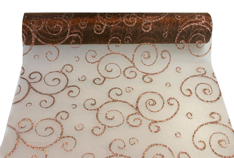 Chemin de table Organza Arabesques Orient Chocolat