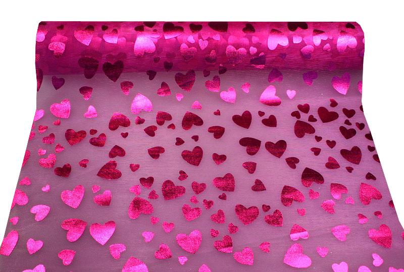 Le chemin de table coeurs brillants 10m d coration de - Chemin de table colore ...