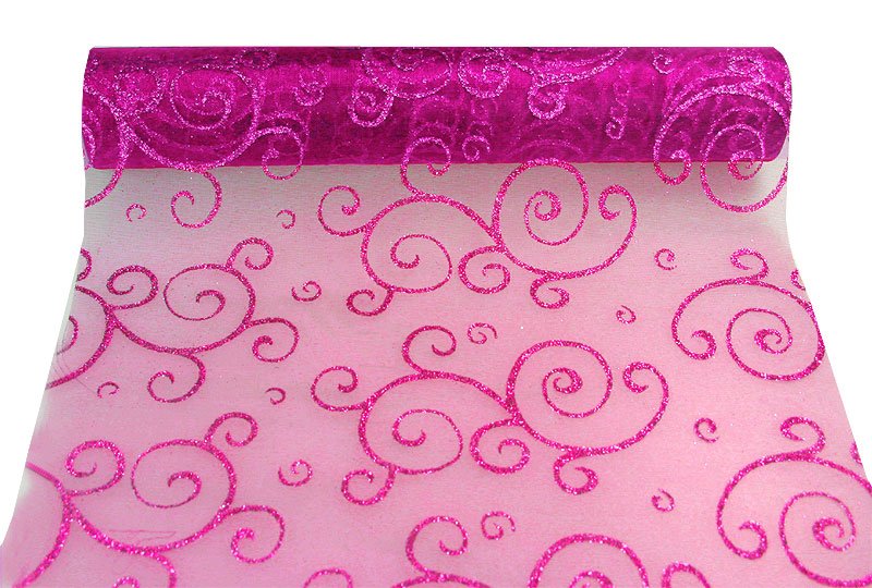 Chemin de table Organza Arabesques Orient Fuchsia
