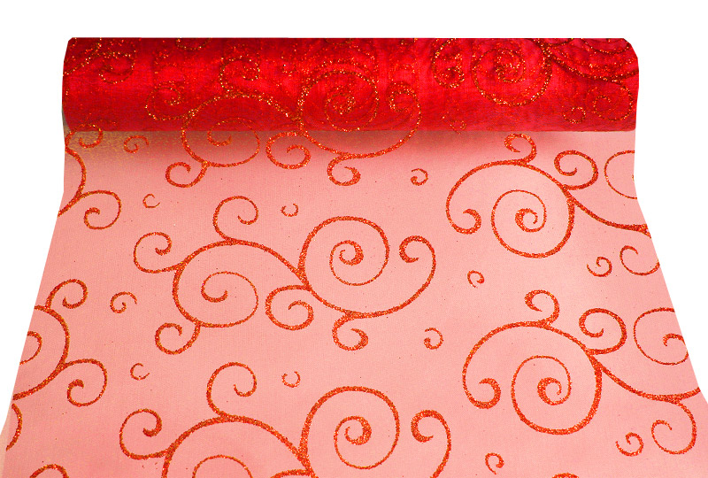 Chemin de table Organza Arabesques Orient Rouge