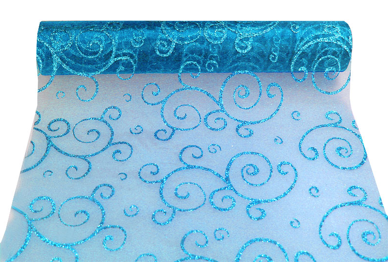 Le chemin de table organza arabesques 1er prix d coration de table - Chemin de table turquoise ...