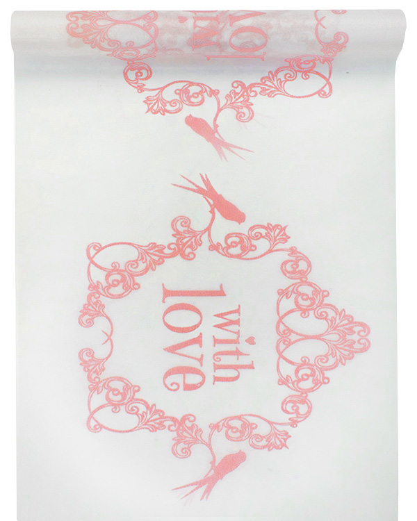 Chemin de Table Intissé With Love Blanc Rose