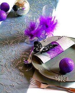 Décoration de table Paillettes Argent Noir