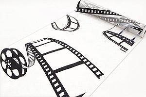 Le Chemin de Table en Organza Thème Cinéma Blanc Noir